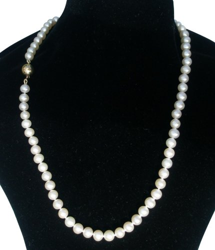 Classic White 6-7mm Cultured Pearl Necklace With A Pretty Round 14Carat Yellow Gold Clasp by Pearls Paradise (Image #2)