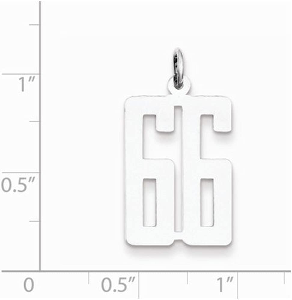 Beautiful Sterling Silver Rhodium-plated Small Elongated Pol Number 66 Charm