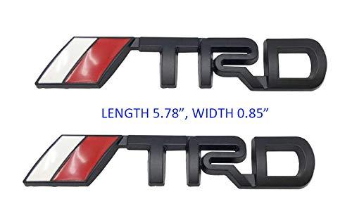 TRD Car Emblem TRD 3D Metal Logo Decal Badge Labeling DIY Car Decoration Black, 5.78x0.86 inch, 2PCS