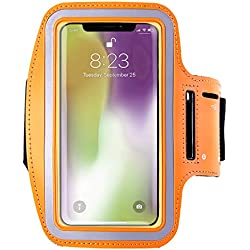 Armband for iPhone X 8/8plus/7/6/6S Plus,Samsung Galaxy s8 s7 s6 Edge s8+,Note 5.etc.CaseHQ Adjustable Reflective Exercise Running Pouch Key Holder,Screen Protector-Hiking,Biking (Orange)