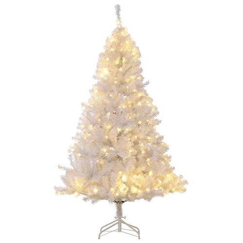 HOMCOM 6' PVC Pre Lit Artificial Christmas Tree with Metal Stand, 250 Warm White LED, 1000 Tips, White (Lit Pre White Tree Christmas)