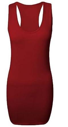 Dames Uni Long Moulant Dos Nageur Gilet Femmes Sans Manches Maxi Gym Top -  Bordeaux, 5b920ef09c7d