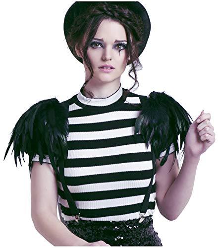 L'VOW Fashion Black Feather Epaulet Shoulder Strap Flash Halloween (Y- Black)]()