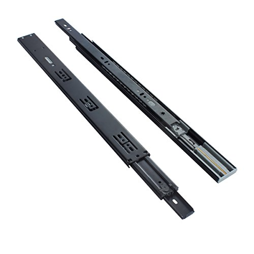 Ball Bearing Duty Slides Heavy (VADANIA 22-Inch Ball Bearing Drawer Slides Soft Close, 3 Folds Full Extension, Side-Mount, Black, Heavy Duty 100lb Load Capacity, 1-Pair (2 Pieces))