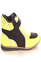 Qupid CANVAS AND METALIC DETAILING LACE UP SNEAKERS 55 BLACK/LIMEGREEN