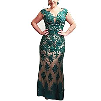 Ike Chimbandi Hunter Green Mermaid Mother Dresses Lace Appliques Evening Gown (US2)