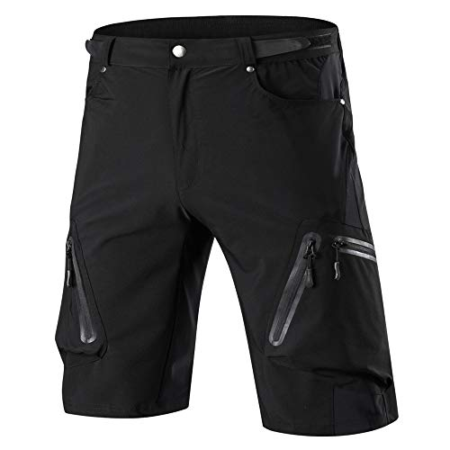 Cycorld Mens Mountain Bike Biking Shorts, Water Repellent MTB Shorts, Loose Fit Cycling Baggy Pants with Zip Pockets