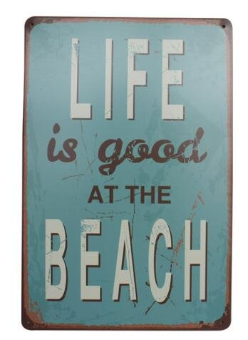 Life is Good at the Beach Metal Sign Tin Signs Retro Shabby Wall Plaque Metal Poster Plate 20x30cm Wall Art Coffee Shop Pub Bar Home Hotel Decor