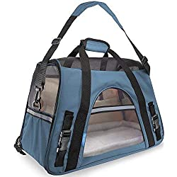 Paws & Pals Airline Approved Pet Carriers w/ Fleece Bed For Dog & Cat - Soft Sided Kennel - Small, Mineral Blue