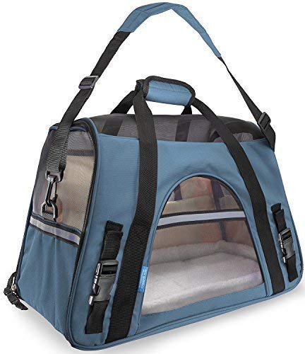 Paws & Pals Airline Approved Pet Carriers with Fleece Bed For Dog & Cat, Large, Mineral Blue