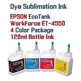 Dye Sublimation Ink 4 color 120ml bottles- EPSON WorkForce Eco-Tank ET-4550