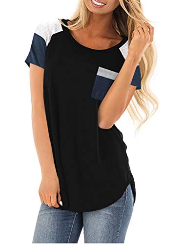 - Royalove Womens T-Shirts Short Sleeve Color Block Cute Shirt Crew Neck Summer Casual Tee Tops Black L