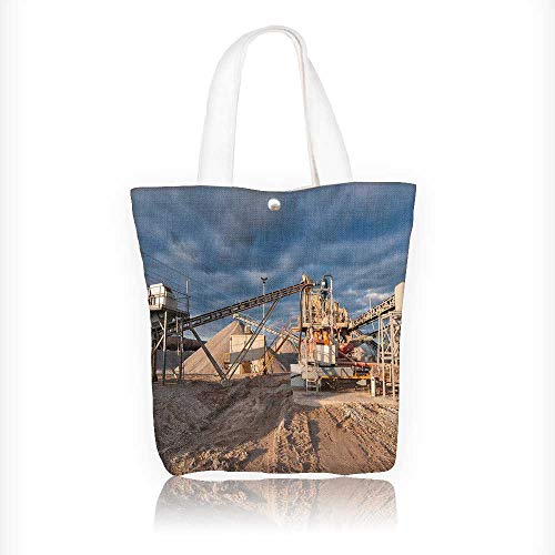 - Ladies canvas tote bag conveyor gravel pit in the even in front of cloudy sky reusable shopping bag zipper handbag Print Design W11xH11xD3 INCH