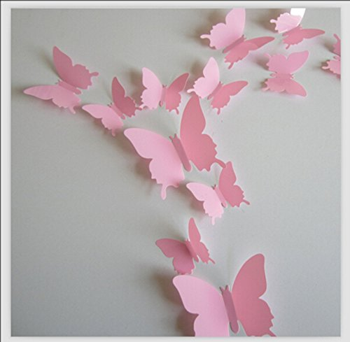 Romantiko 12 Pcs Fashion 3D Butterfly Wall Stickers Art Decor Decal For Home Wedding Party Pink