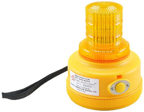 North American Signal PSLM4-A LED Personal Safety Warning Light with Magnetic Mount, Programmable Battery Operated, Amber