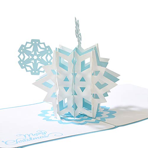 CUTEPOPUP Snowflake 3D Pop-up Greeting Card for Christmas Days with Perfect Details, Hand Assembled, Ideal writing surface for Message, good choice for Family, Friends, Colleagues