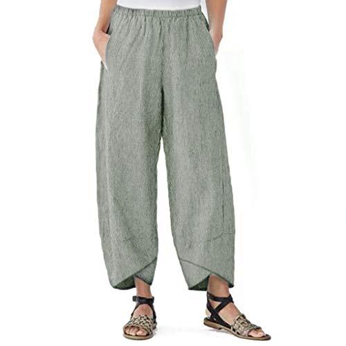 LISTHA Linen Loose Pants Women Casual Solid Pocket Elastic Waist Loose Trousers Green