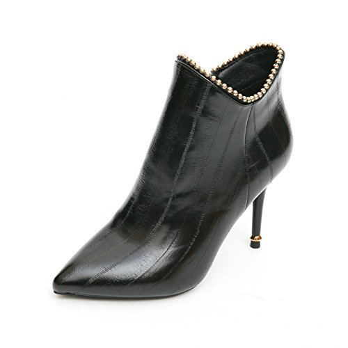 AJUNR-Ladies New Fashion Shoes Personality Pleated Leather Martin Boots With Fine Pointed Nail Bead Bare Boots Super Sexy High-Heeled Boots Temperament Black LjLsICi