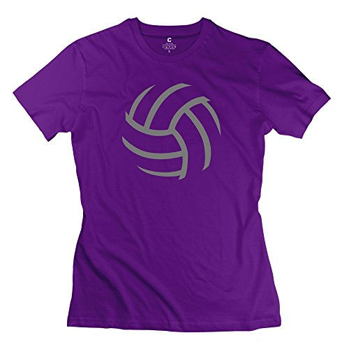 Ryan Women's Tshirts Stick Figure About A Volleyball Size L Purple