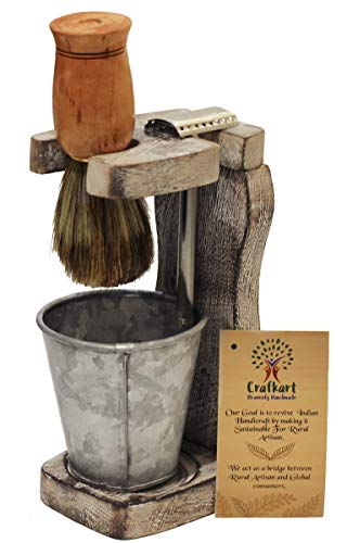 Father's Day Deals - Crafkart Wooden Shaving Brush and Razor Stand with Metal Glass for Water - Shabby Chic Unique Handmade Shaving Stand - Perfect Gift for Him