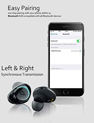 ABLEGRID Pyxis True Wireless Earbuds, Bluetooth 5.0 Touch Control in-Ear Headphones TWS Earphones with CVC6.0 Mic, 25H Playtime with Charging Case, IPX5 Waterproof Sport Earbuds for Running, Fitness 41pMsn82WnL