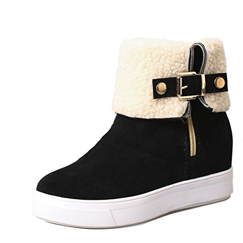 Zip Womens Flats Boots (Gaorui Women Faux Suede Mid Calf Boots Short Boots Round Toe Low Heel Shoes with Warm Woolen Shoes TubeFaux Fur Lined Flat Snow Boots Zip Buckle Ankle Boots Winter Warm Shoes)