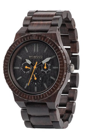 WeWood Men's Kappa Black-Orange Wooden Watch