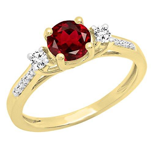 Dazzlingrock Collection 18K 5 MM Round Garnet, White Sapphire & Diamond Ladies Engagement Ring, Yellow Gold, Size 5 ()