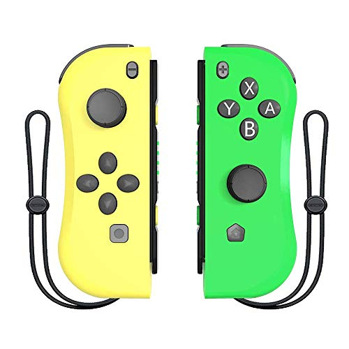 Wireless Controller for Nintendo Switch, BestOff Joypad Controller Replacement with Wrist Strap, L/R Remotes Gamepad Joystick for Switch Console (Yellow and Green)