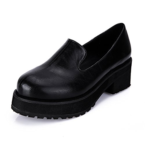 Womens Kunstleer Ronde Neus Lage Hak Stevige Sneaker 128 Zwart Eu 35 - Us 5