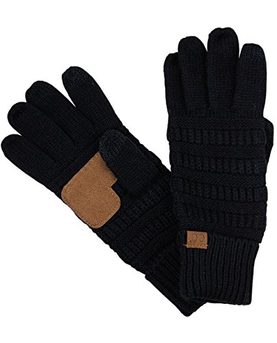 C.C Unisex Cable Knit Winter Warm Anti-Slip Touchscreen Texting Gloves, Black by C.C