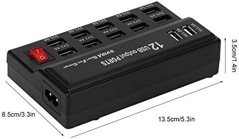 電源タップサージプロテクター12個のマルチポート高速充電器USB Station 100-240V国際USB充電ハブ(コードおよび複数のデバイス用のフラットラグ付き)携帯電話タブレットIpad Airpos(1#)