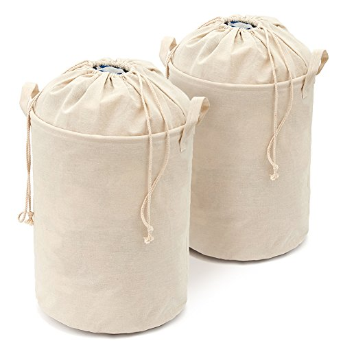 College Dorm Hamper, [2-Pack] EZOWare Foldable Lightweight Closet Cotton Linen Storage Basket Bag with Closing Top Perfect for College Dorms, Kids Room & Bathroom - Ivory [ 16 x 13 inches ]