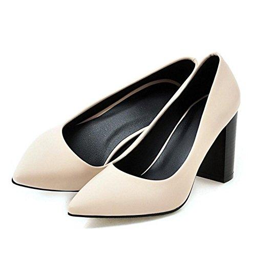 Elegant On TAOFFEN Toe Pumps Heel Shoes Office Slip Beige Block Women Pointed High wxpwF8Aq1