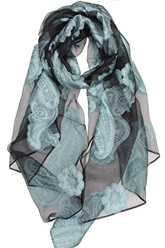 Achillea Sheer Burnout Scarf Evening Wrap Shawl w/Embroidered Paisley Pattern (Mint)