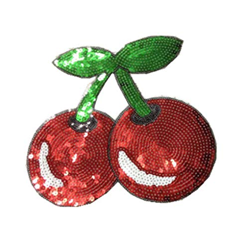 MuLuo Cherries Pattern Clothes Patches Lovely Sequin Applique Costume Paste DIY Hand Works Decorations ()