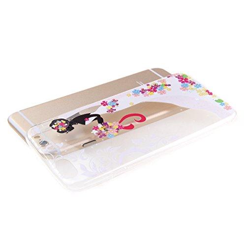 Ekakashop iPhone 6 plus/6s plus (5.5 pouces) Soft Silicone Fashion Coque Couverture, Jolie Motif de Série fleur fée [Scratch-Resistant] [Ultra Mince] [Ultra léger] Doux Souple Flexible TPU Gel Transpa