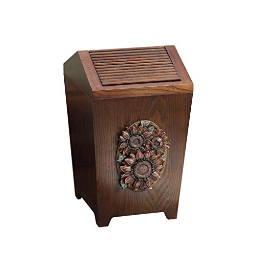 Trash can Cabinet Clam Shell Wooden Trash Can, Creative with Lid Family Kitchen Living Room Bedroom Personality Garbage Recycling Trash can (Color : Sun Flower, Size : Flip Cover)