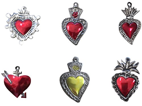 Milagros Charms - Tin Painted Sacred Heart Ornaments - Mexican Art (Set of 6) by Casa Fiesta Designs
