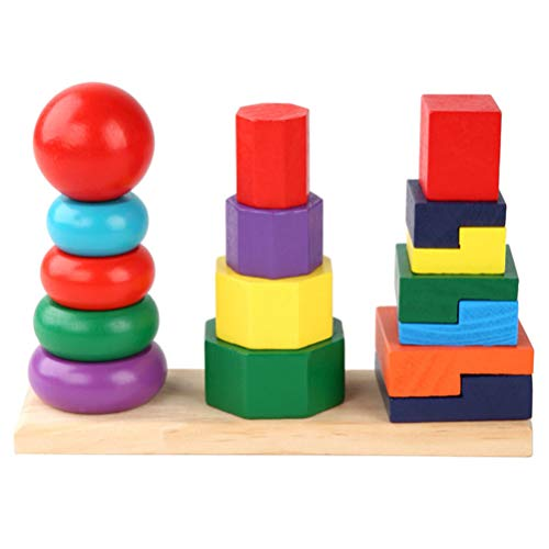 STOBOK Geometrische Stapelaar Montessori Vormsorteerder Houten Stapelspeelgoed Peg Puzzels Bordblokken Educatief…