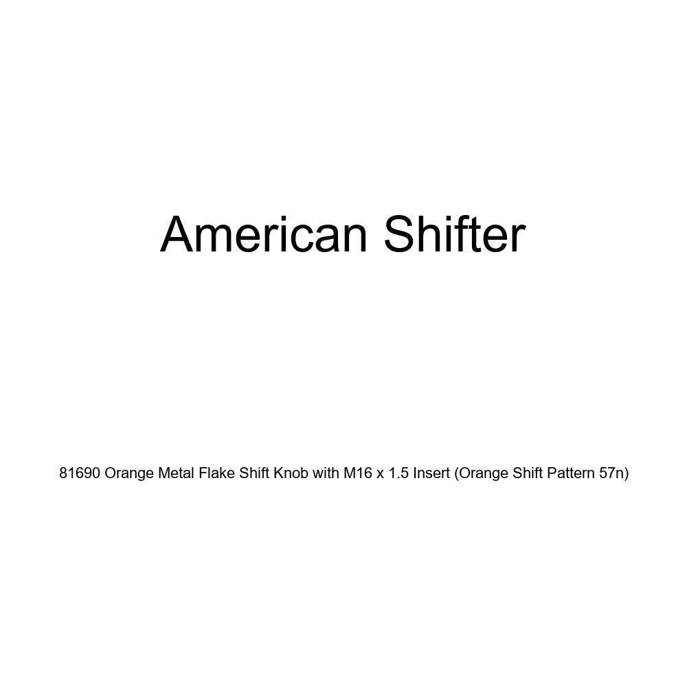 American Shifter 81690 Orange Metal Flake Shift Knob with M16 x 1.5 Insert Orange Shift Pattern 57n
