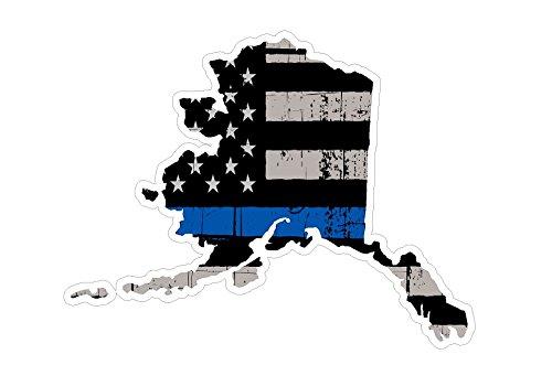 (Alaska State (V4) Thin Blue Line Vinyl Decal Sticker Car/Truck Laptop/Netbook Window)