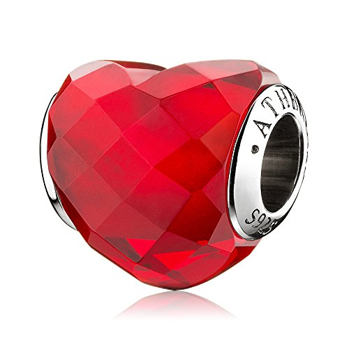 ATHENAIE Murano Glass 925 Sterling Silver Shape of Love Heart Charms for European Bracelets Red