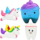 OYE HOYE 4PCS Jumbo Squishies Slow Rising Squishy Toy Set Scented Galaxy Tooth Cute Unicorn Set Charms Stress Reliever for Kids Adult