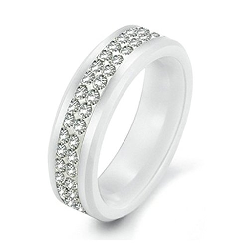 KnSam Men Ceramic Bands Double Channel Set White Crystal Rhinestone Size 7 [Novelty Ring] ()