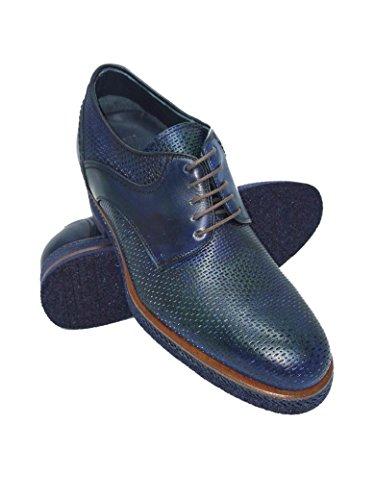 Zerimar Chaussures Réhaussantes Intérieur Pour Messieurs Augmentation + 7 CM Bleu Victoria Cuir, Respirant, Confortable