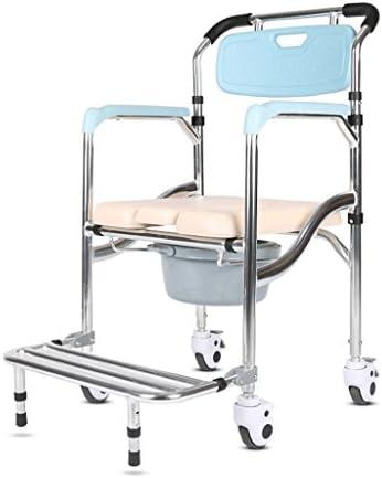 Cqq Badestuhl Klappstuhl Old Man Wheeled Kommode/Over Toilettenstuhl mit gepolsterten Sitz und Rücken Rollstuhl Bad Stuhl Moving Toilet Duschstuhl mit Bremsen