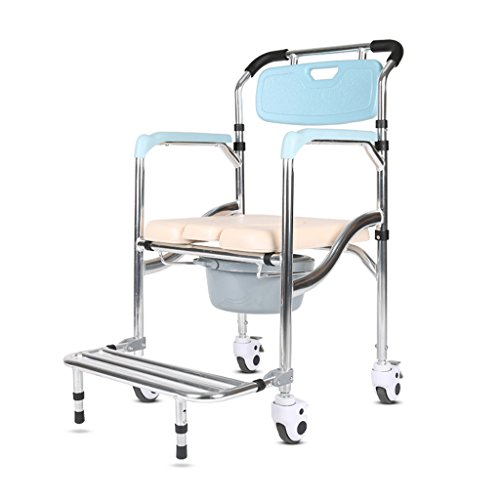 Lxn Folding Chair Old Man Wheeled Commode/Over Toilet Chair with Padded Seat and Back Wheelchair Bath Chair Moving Toilet Shower Chair with Brakes (Over Wheel)