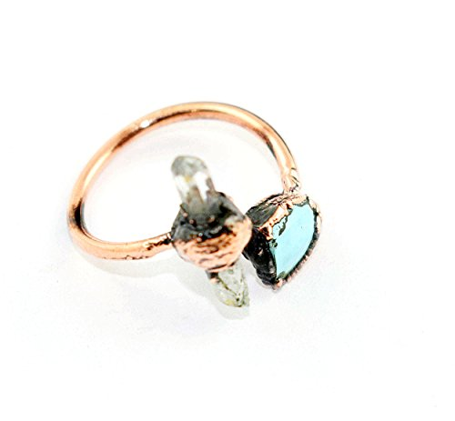 1 Pc Natural Turquoise,Crystal Raw Gemstone Ring,Stackable Gemstone Ring,Copper Electroformed Ring