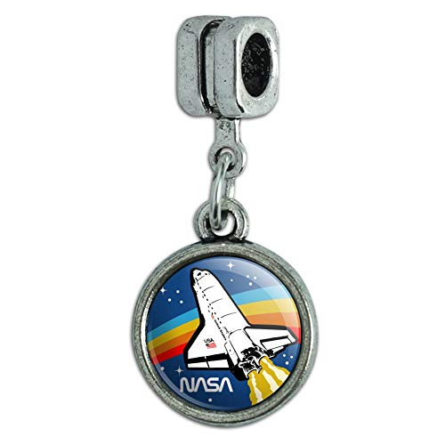 GRAPHICS & MORE NASA Logo Over Space Shuttle with Rainbow Italian European Style Bracelet Charm Bead